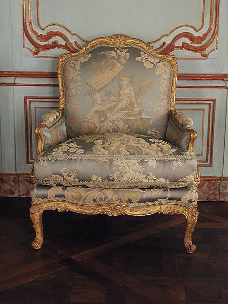 Armchair (bergère) (one of a pair), possibly by Louis I Cresson (French, 1706–1761), Carved and gilded beechwood, French, Paris