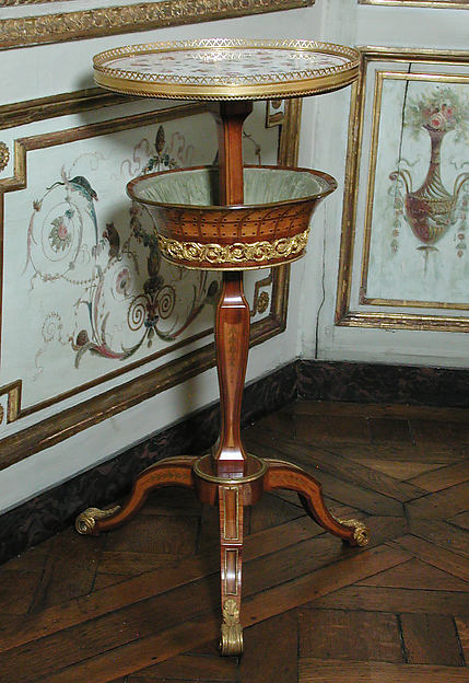Candelstand and worktable (table à ouvrage en guéridon), Attributed to Roger Vandercruse, called Lacroix (French, 1727–1799), Oak veneered with tulipwood, boxwood, holly and ebonized holly, sycamore, and other woods; soft-paste porcelain, gilt bronze, silk, French, Sèvres