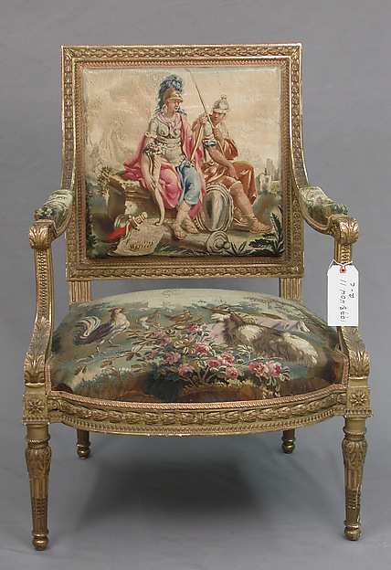 Armchair, Tapestry upholstery by Beauvais, Carved and gilded wood; wool, silk, French, Beauvais