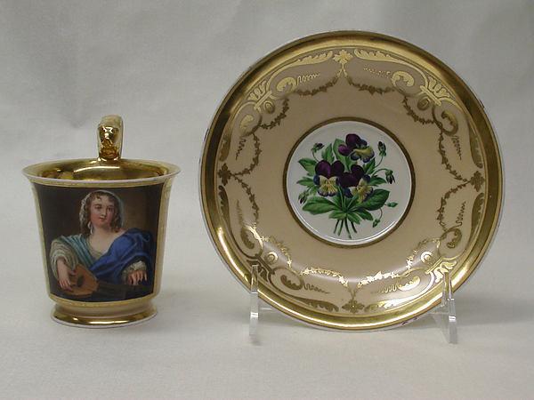 Cup and saucer, Vienna, Hard-paste porcelain, gilt, Austrian, Vienna