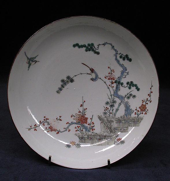 Dish, Hard-paste porcelain, Chinese, for European market
