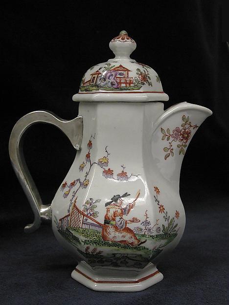 Coffeepot, Vienna, Hard-paste porcelain, silver, Austrian, Vienna