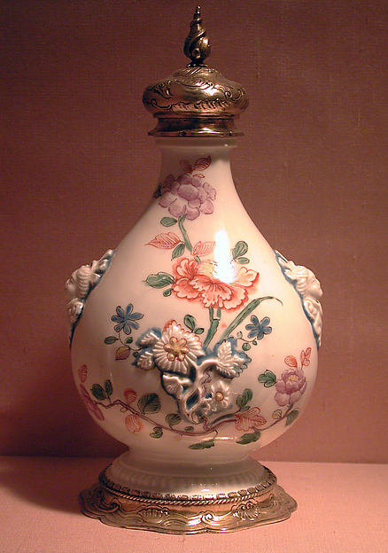 Pilgrim bottle with cover, Vienna, Hard-paste porcelain, silver gilt, Austrian, Vienna