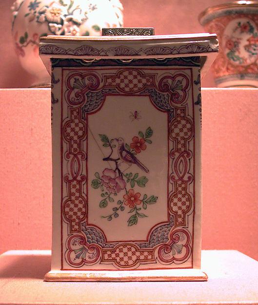 Tobacco box with cover, Vienna, Hard-paste porcelain, silver gilt, Austrian, Vienna