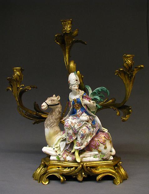 Asia (one of a pair), Meissen Manufactory (German, 1710–present), Porcelain, gilt bronze, German, Meissen