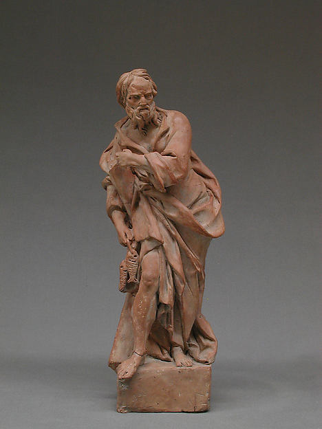 Saint Andrew, Probably by Giuseppe Picano (1732–1810), Terracotta, traces of ground or white wash, Italian, Naples