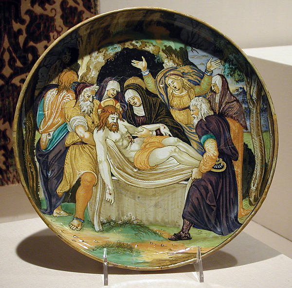 The Entombment of Christ, Painted by Fra Xanto Avelli da Rovigo (ca. 1486–1582), Maiolica (tin-glazed earthenware), lustered, Italian, Urbino with Gubbio luster