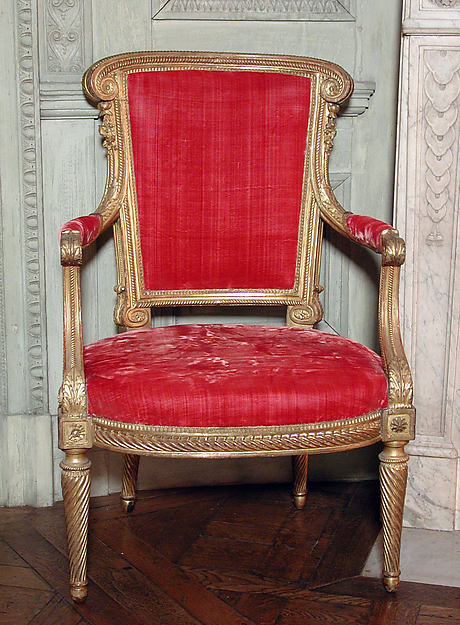 Armchair (part of a set), Georges Jacob (French, Cheny 1739–1814 Paris), Carved and gilded walnut; velvet, French, Paris