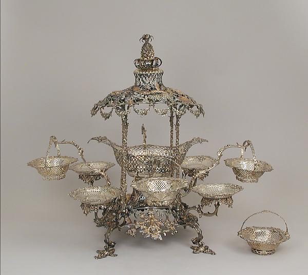 Epergne, Thomas Heming (active 1745–73), Silver, British, London