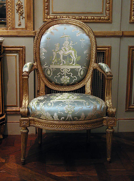 Armchair (one of four) (part of a set), Louis Delanois (French, 1731–1792), Carved and gilded mahogany, modern silk damask, French, Paris