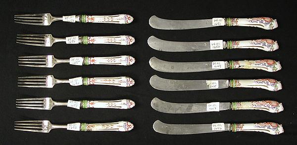 Knife, Vienna, Hard-paste porcelain, steel, Austrian, Vienna