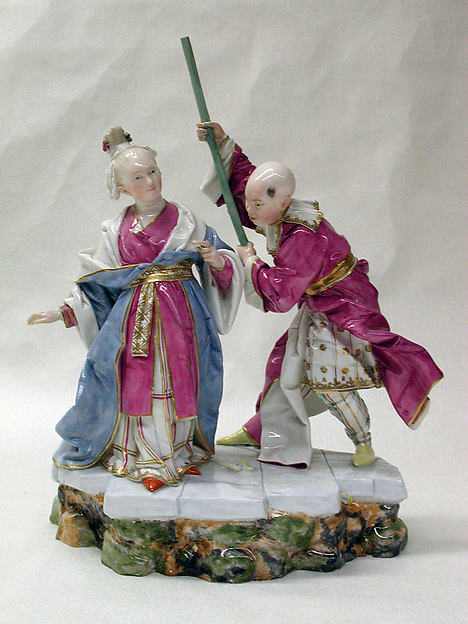 Chinese woman and servant, Höchst Manufactory (German, 1746–1796), Hard-paste porcelain, German, Höchst