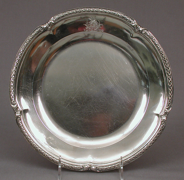 Plate from a table service owned by Chancellor Robert R. Livingston of New York, Jacques-Nicolas Roettiers (1736–1788, master 1765, retired 1777), Silver, French, Paris