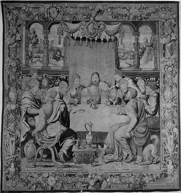 The Last Supper, Michiel Coxie (I) (Netherlandish, Mechelen ca. 1499–1592 Mechelen)  , probably, Wool, silk, silver-gilt, silver thread (18-19 warps per inch, 7-8 per cm.), Flemish, Brussels