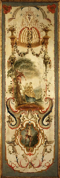 September and October (part of a set illustrating the months of the year), Follower of Antoine Watteau (French, Valenciennes 1684–1721 Nogent-sur-Marne), Oil on canvas; wood frame, painted yellow and gilded, French