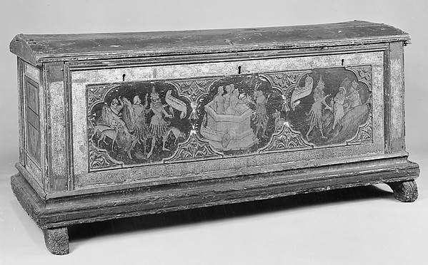 Cassone (one of a pair), Italian (Florentine?) Painter  , second quarter 15th century, Tempera on lindenwood, molded and gilt ornament, Italian, probably Florence