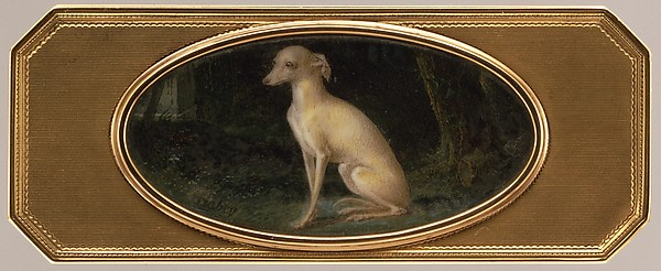 Box with portrait of a whippet, Probably by Joseph Étienne Blerzy (French, active 1750–1806), Gold, ivory, glass, French, Paris