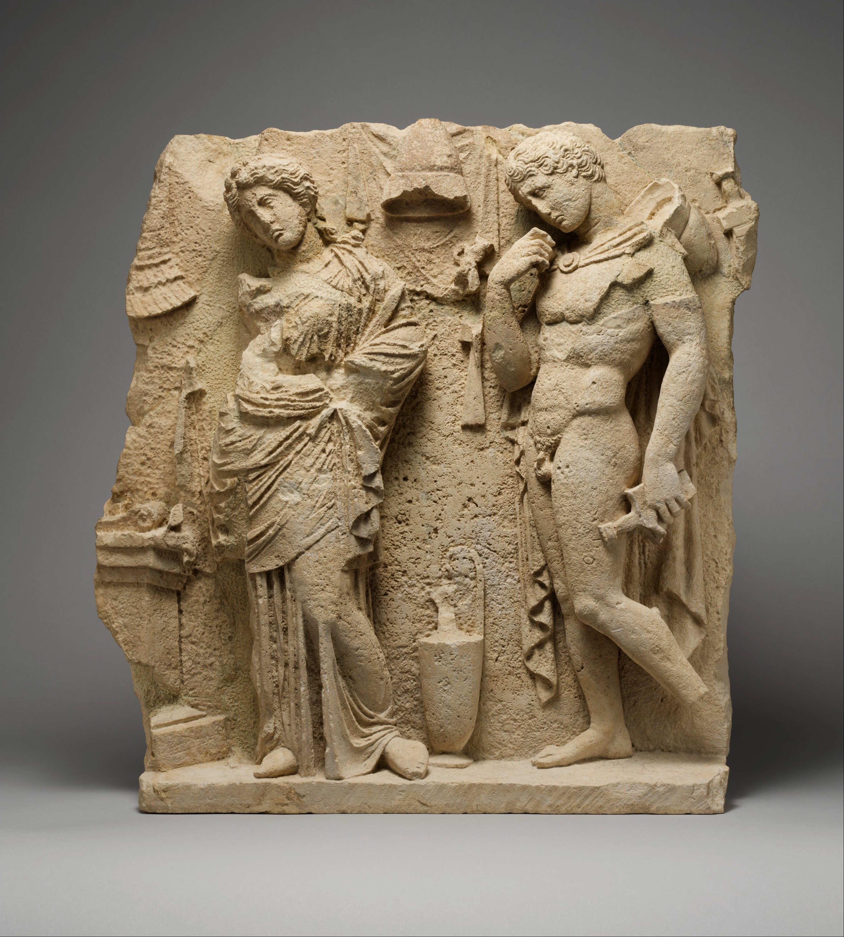 Limestone Funerary Relief Greek South Italian