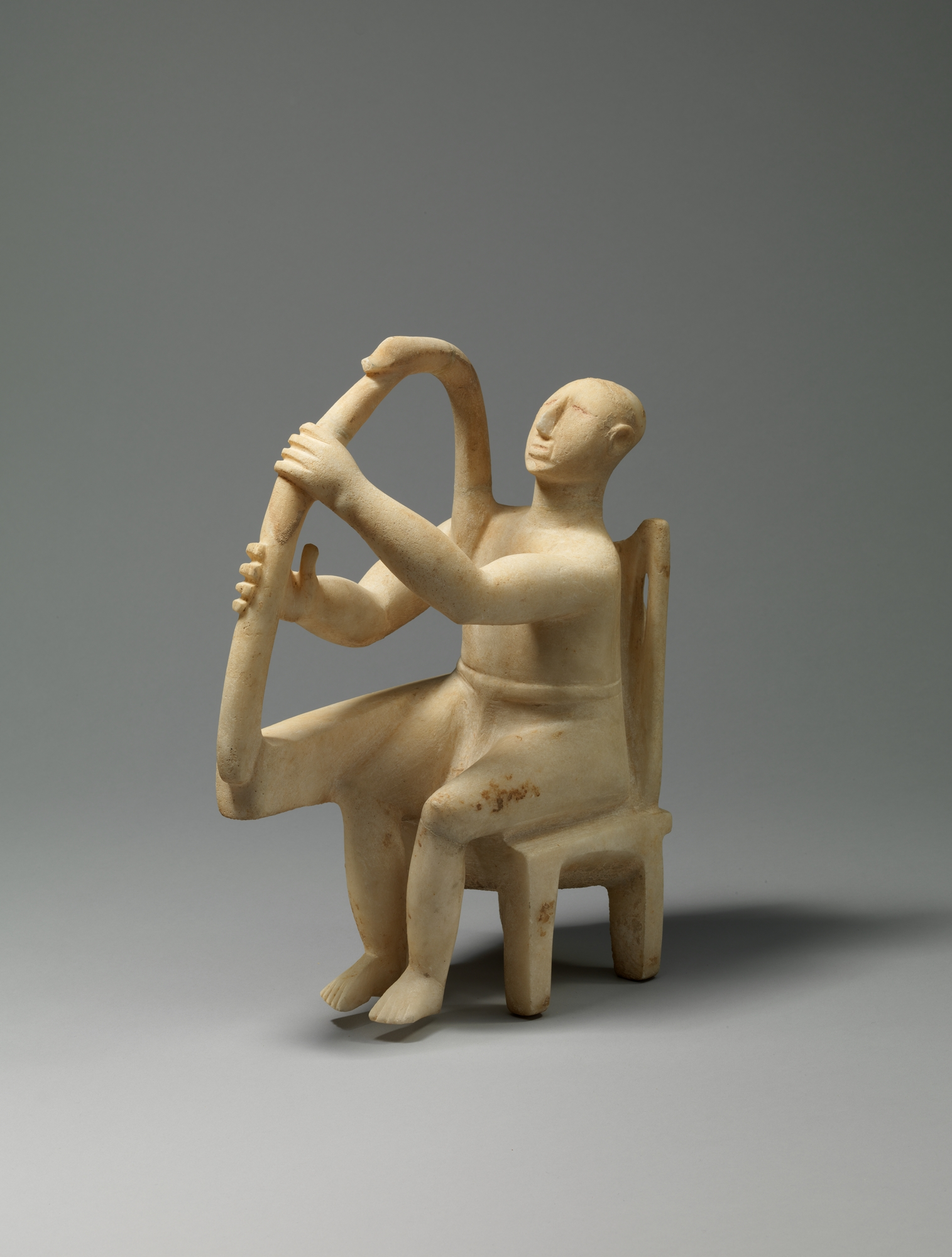 Marble Seated Harp Player Cycladic Late Early Cycladic