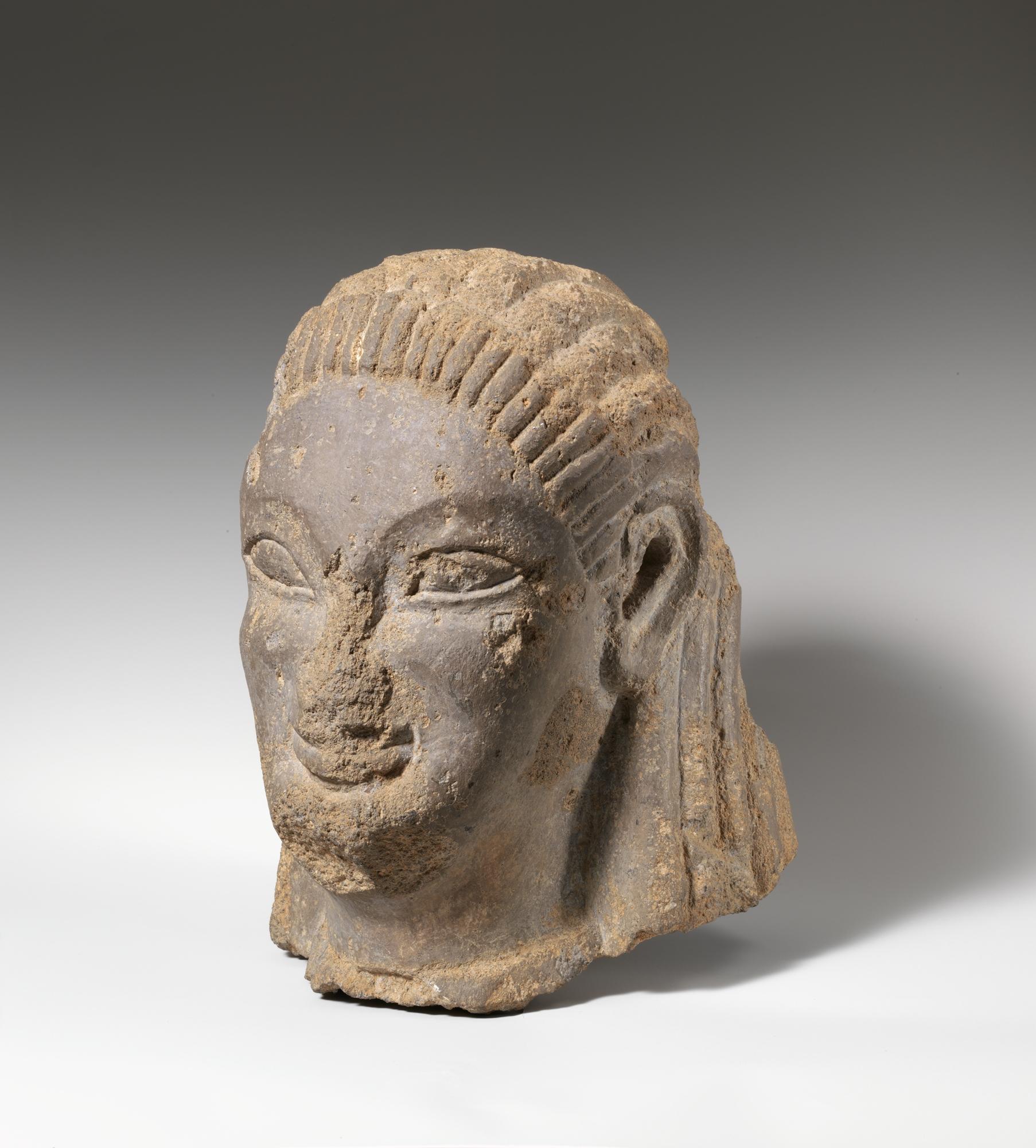 Tufa Head Of Sphinx Or Siren Etruscan Probably Vulcian Archaic The Met