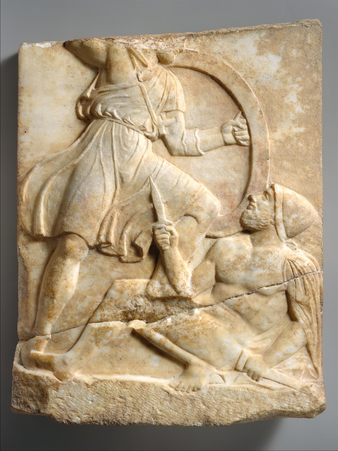 Grave Stele With Hoplite Battle Scene Greek Attic