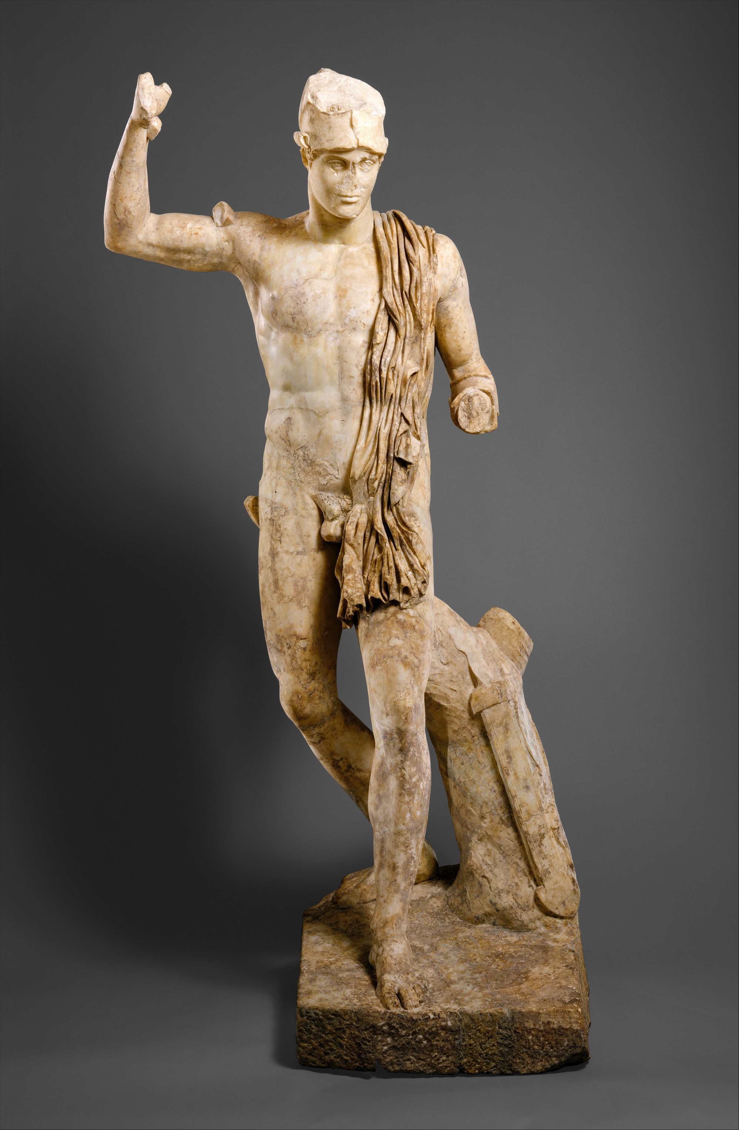 Marble Statue Of A Wounded Warrior Roman Mid Imperial