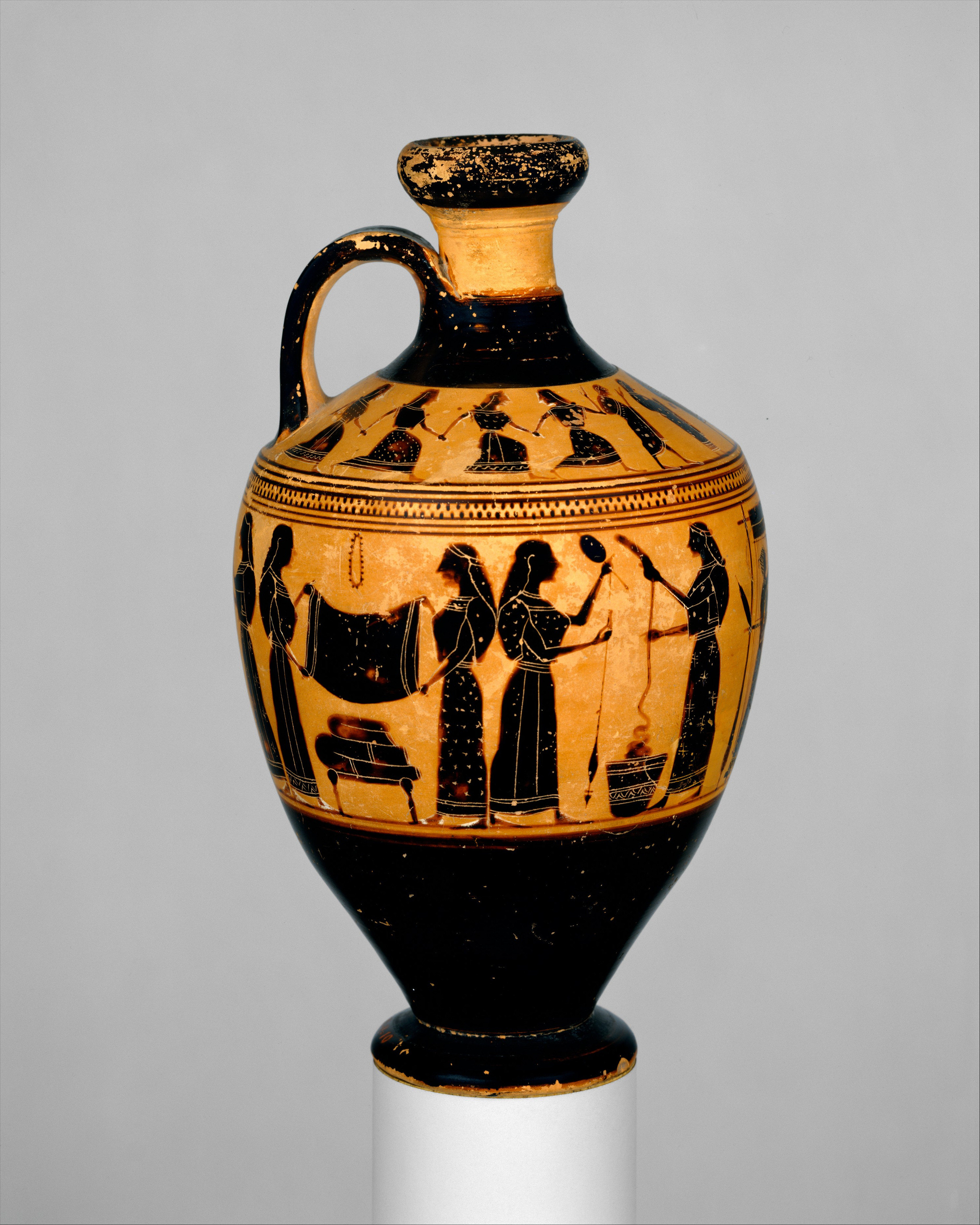 Attributed to the Amasis Painter   Terracotta lekythos oil flask ...
