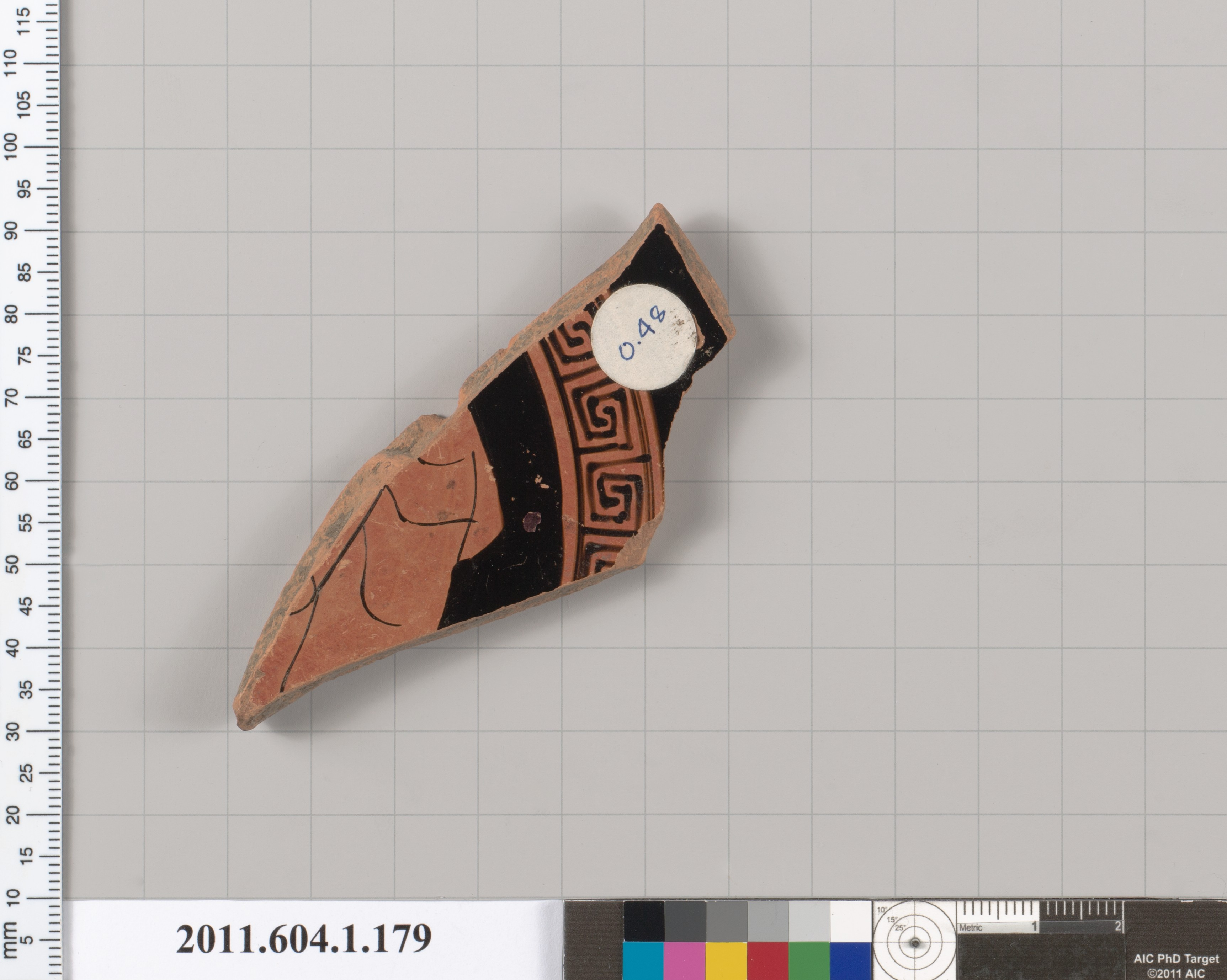 Terracotta fragment of a kylix (drinking cup) | Greek, Attic