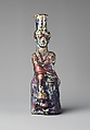 Glass bottle in the form of Tyche (Good Fortune), Glass, Roman