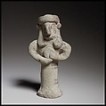 Standing figure holding a tambourine(?), Terracotta, Cypriot