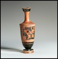 Lekythos, Attributed to the manner of the Haimon Painter, Terracotta, Greek, Attic
