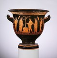 Terracotta bell-krater (bowl for mixing wine and water), Attributed to the Nikias Painter, Terracotta, Greek, Attic