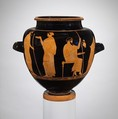 Terracotta stamnos (jar), Attributed to the Copenhagen Painter or the Syriskos Painter, Terracotta, Greek, Attic