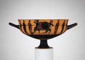 Terracotta kylix: Siana cup (drinking cup), Attributed to the Sandal Painter, Terracotta, Greek, Attic