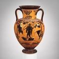 Terracotta neck-amphora (jar), Attributed to the Acheloös Painter, Terracotta, Greek, Attic