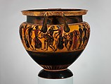 Terracotta column-krater (bowl for mixing wine and water), Attributed to Lydos, Terracotta, Greek, Attic
