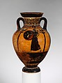 Terracotta Panathenaic prize amphora, Attributed to the Leagros Group, Terracotta, Greek, Attic