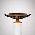 Terracotta kylix (drinking cup), Signed by Hegesiboulos as potter, Terracotta, Greek, Attic
