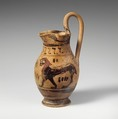 Terracotta oinochoe: olpe (jug), Related to the Group of the Early Olpai, Terracotta, Greek, Attic