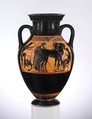 Terracotta amphora (jar), Attributed to the manner of the Lysippides Painter, Terracotta, Greek, Attic