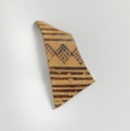 Terracotta sherd from a vessel with horizontal bands and cross-hatched diamond pattern, Terracotta, Greek, Laconian