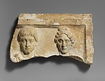 Top of a marble funerary relief with portrait busts of a young man and an elderly woman, Marble, Roman