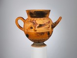Terracotta globular cup with two handles, Terracotta, Etruscan