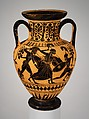 Terracotta neck-amphora (jar), Terracotta, Greek, Attic