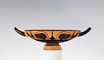 Terracotta kylix (drinking cup), Attributed to the Group of the Phineus Painter, Terracotta, Greek, Chalcidian