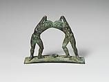 Bronze handle from a cista (toiletries box), Bronze, Praenestine