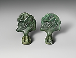 Pair of bronze cista (toiletries box) feet with panthers attacking cranes, Bronze, Praenestine