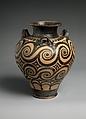 Terracotta jar with three handles, Terracotta, Minoan