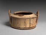 Terracotta pyxis (cylindrical box), Terracotta, Minoan