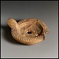 Terracotta oil lamp, Terracotta, mold-made, Roman